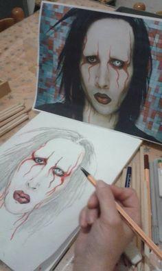 Portrait of Marilyn Manson matita/pennarelli di Gessica Signori