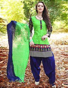 G3fashions Cotton green readymade Punjabi salwar suit Products code: G3-WSS3448 Price: ₹ 3445.00