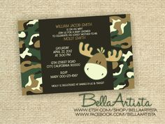 Camouflage Moose Baby Shower Invitation  Boys Camo by BellaArtista, $20.00