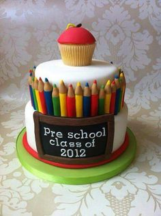 a pre school leaving cake! - Cake by Liah curtis Fancy Cakes, Cute Cakes, Beautiful Cakes, Amazing Cakes, Fondant Cakes, Cupcake Cakes, Torta Angel, Teacher Cakes, Cakes For Teachers