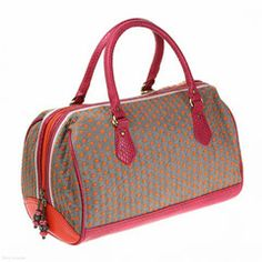Andrea Barrel Bag (Jitterbug) - Spencer & Rutherford at Jenn Louise - Brown and Pink Day Bag