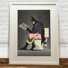 Batman Poster Superhero On The Toilet Bathroom Toilet Wall Art Hanging Print Home Decor Literally Toilet Humor. Batman Et Superman, Batman Meme, Batman Art, Batman Kunst, Batman Superhero, Superman Poster, Batman Gifts, Batman Bathroom, Bathroom Art