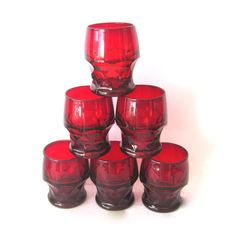 Vintage Ruby Red Glass Tumblers by Anchor Hocking