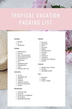 Ultimate Tropical Vacation Packing List Your Ultimate Tropical Vacation Packing List! With free printable packing listYour Ultimate Tropical Vacation Packing List! With free printable packing list Disneyworld Packing List, Holiday Packing Lists, Beach Vacation Packing List, Honeymoon Packing, Packing List For Vacation, Packing For A Cruise, Travel Packing, Packing Tips, Travel Tips