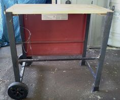 """This is not really an instructable but more of an idea. I do a lot of work in my carport where there is more room but no benches to put anything on. I needed a portable workbench and so this was created. It's light, can hold heavy tools (like the 10"""" mitre saw), and it's portable. Very handy to have."""