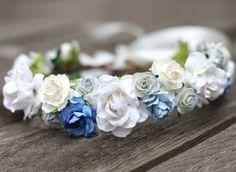 Blue Wedding Hair Crown White Bridal Halo Dusty Blue Head Wreath