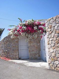 Bougainvillea over the door - Monolithos, Santorini Beautiful Flowers, Beautiful Places, Greece Art, Santorini Greece, Mykonos, Santorini Island, Exotic Plants, Entrance Doors, Small Gardens