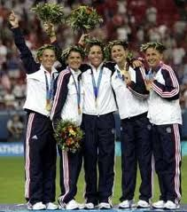 """The """"FabFive"""" Women who put women's soccer on the map: Kristine Lilly, Mia Hamm, Julie Foudy, Brandi Chastain, and Joy Fawcett (left to right)."""