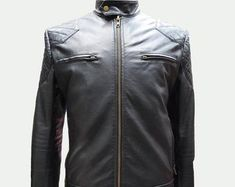 Etsy :: Your place to buy and sell all things handmade Leather Jacket Dress, Two Of A Kind, Motorcycle Jacket, Trending Outfits, Sleeves, Jackets, Etsy, Clothes, Handmade Leather