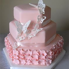 Blush Pink Butterfly Wedding Cake Blush pink wedding cake with petal ruffles and a cascade of white butterflies. Gorgeous Cakes, Pretty Cakes, Cute Cakes, Amazing Cakes, Butterfly Wedding Cake, Butterfly Cakes, Pink Butterfly, Papillon Butterfly, Butterfly Birthday