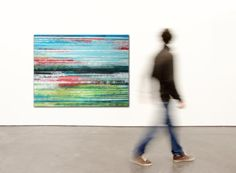 Landscape Abstract painting  Colored striped door RonaldHunter, $399.00