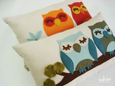 adorable owl in felt pillow