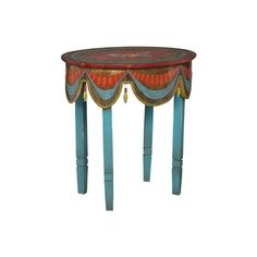Belle Escape::Furniture::Accent Tables::Moroccan Painted Accent... (915 AUD) ❤ liked on Polyvore featuring tables, furniture, home, backgrounds and morocco