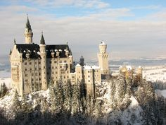Neuschwanstein Castle, Germany  Built in the late 1800s, the Neuschwanstein Castle in the state of Bavaria in southeast Germany was meant to be the private retreat of the reclusive King Ludwig II of Bavaria, but he died before it was completed.
