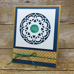 Stampin\' Up! Eastern Medallion Thinlits with sentiment from Oh Happy Day Card Kit created by Josie Schneider, May 2017 Stamping to Share Demo Meeting Swap, #stampingtoshare
