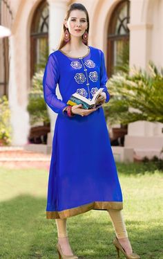 Picture of Blue Color Georgette Trendy Kurti