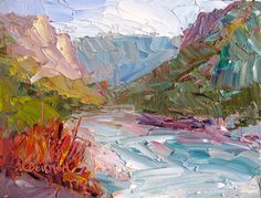 "Original art for sale at UGallery.com | Rio Grande Spring by Roger Alderman | $300 | oil painting | 6"" h x 8"" w 