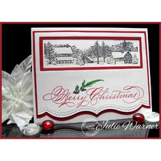 """By Julie Warner. Uses """"Winter Homestead"""" stamp from Serendipity Stamps."""