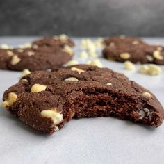 A simple recipe for chocolate protein cookies stuffed with white chocolate chips. Each cookie has 8 grams of protein, 10 grams of carbs, and 95 calories. Baking With Protein Powder, Protein Powder Recipes, High Protein Recipes, Protein Foods, Chocolate Protein, White Chocolate Chips, Chocolate Recipes, Chocolate Chip Cookies, Protein Cookie Recipe