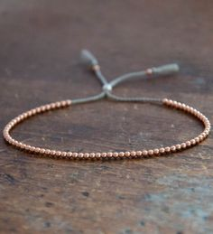 Delicate 14k solid Rose Gold beaded bracelet http://bijouxcreateurenligne.fr/product-category/bracelet-fantaisie/