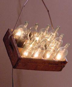 milk bottle chandelier | ... light, above -- I'm seeing milk bottle fixtures all over the place