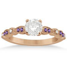 Marquise & Dot Diamond Amethyst Engagement Ring 14k Rose Gold 0.24ct -Allurez.com
