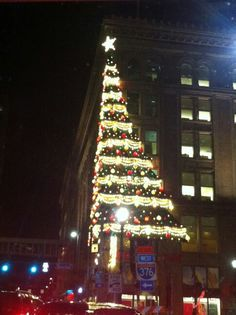 The Macy's building in Pittsburgh during the Christmas time.