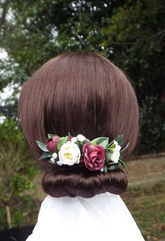 Burgundy red hair comb, Bridal hair comb, flower comb, Red and white comb Faux Flowers, Dried Flowers, Purple Flowers, Bridal Hair Flowers, Flower Hair, Burgundy Red Hair, Metal Comb, Different Flowers, Flower Crown