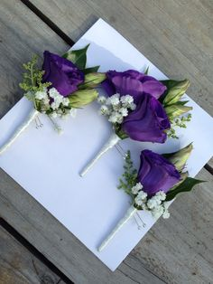 Deep purple Lisianthus buttonholes.