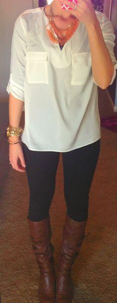 Katie's ClosetJacket: Delias Shirt: TJ Maxx Pants: Express Boots: Steve Madden Necklace: Marshalls