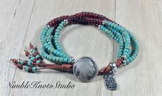 Native American Style Bracelet/Leather Wrap Bracelet/Boho Wrap Bracelet/Southwestern Jewelry/Boho Jewelry/NimbleKnotsStudio/Valentines Day Bohemian Accessories, Bohemian Jewelry, Unique Jewelry, Beaded Wrap Bracelets, Handmade Bracelets, Native American Jewelry, Jewellery Storage, Jewelry Crafts, Jewelry Ideas