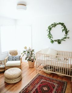 Beautiful white, ivy, wood, rug, baby room nursery