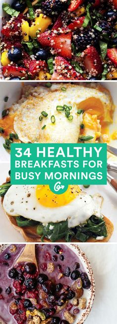 34 Healthy Breakfasts for Busy Mornings  | Many of these healthy breakfast ideas are perfect for packing as snacks too!  #healthy #breakfast #recipes