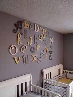 Homemade yellow and grey nursery art
