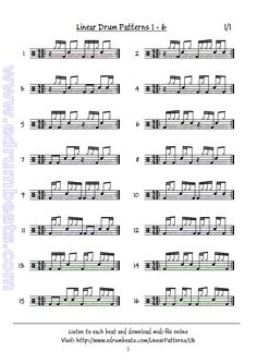 Funky linear drum beats. Lesson 1-6 has 16 patterns. Enjoy.