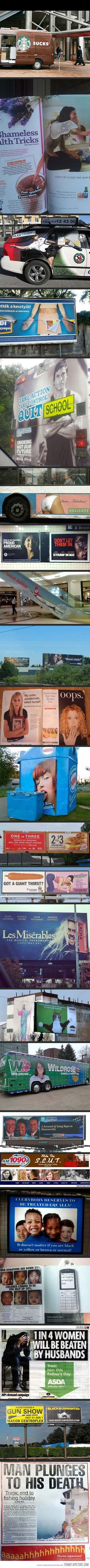 23 Most Unfortunate Advertising Placements… These are horrible. EPIC FAILS. I should not be laughing this hard.