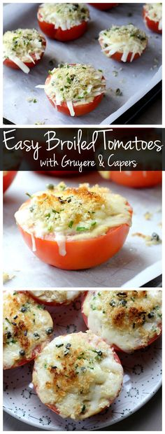 These easy broiled tomatoes can be made in just a few minutes! It's a perfect vegetarian and gluten free appetizer!