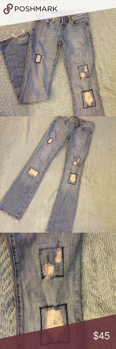 """Seven7 Patchwork Flare Jeans Size 24 Seven7 jeans with custom patchwork and distressing .  Flare style.  Excellent condition with some wear on the hems that just ads to the style .  All measurements taken flat .  Size 24 measures 31"""" Inseam , 7"""" rise , 13"""" back hem .  Bundle 2+ and Save 20% Seven7 Jeans Flare & Wide Leg"""