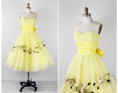 vintage 1950s 50s dress // Yellow Tulle Cupcake Dress with Daisies and a Big Satin Bow