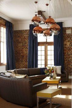 Brick wall, curtains, lighting