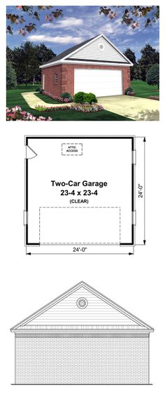 Garage Plan 59119 | Garage Area: 576 sq. ft., Width: 24', Depth: 24'. This traditional garage plan offers plenty of room for oversized vehicles, easy outside access through the side door, and beautiful styling that is sure to be a great addition to any home. #garageplan