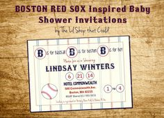 Baseball Baby Shower Invitations: Boston Red Sox Inspired, Little Slugger, Birthday, Custom, Printable by The Lil Shop that Could