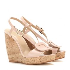 Roger Vivier's iconic buckle adorns these nude leather sandals, which are complete with a classic cork wedge and smooth leather upper. We love them with everything from girly dresses to dressed-down denim. Shoes Heels Wedges, Flats, Wedge Heels, Shoes Sandals, Beige Sandals, Leather Wedge Sandals, Roger Vivier Shoes, Valentino, Smooth Leather