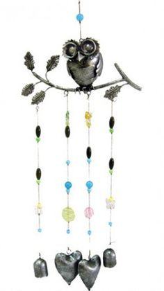 Metal Owl on Branch Hanging Bells Wind Chime