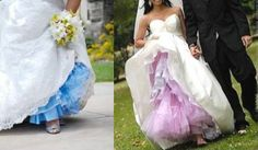 Dying crinoline - a fun & surprising peek-a-boo color for a wedding dress! LOVE this idea! But, doubt I'll have a dress with crinoline lol Colored Wedding Gowns, Diy Wedding Dress, Wedding Attire, Wedding Bells, Wedding Colors, Dream Wedding, Wedding Day, Wedding Stuff, Wedding 2015