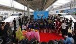 The ceremony of the termination of The Shinkansen train