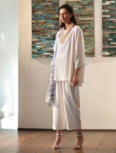 White cashmere and silk long tunic over cashmere and silk cropped loose trousers : Eskandar