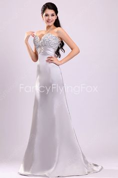 Noble Sweetheart Neckline A-line Floor Length Silver Pageant Dresses For Women at fancyflyingfox.com