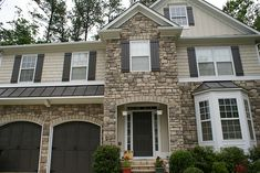 exterior paint color schemes | Opt for a softer tone with features like stone so that the front of ...