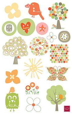 Pegatinas infantiles para imprimir , pajarillos naranjas, stickers muy pequeños como puntos, el arcoiris en coloreas suaves para los más pe...